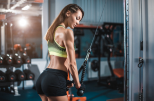 Sports Relief: Exercise On Triceps In Gym For Women